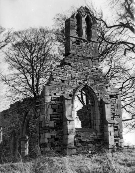 The ruins of Haughton Chapel, near Retford, Nottinghamshire, England. Building began in the late 11th century, with enhancements and additions up to the 16th century. Date: Medieval