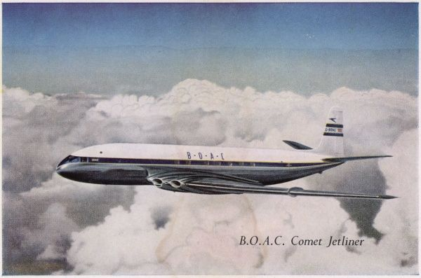 The 'Comet' is the first commercial jet-liner, carrying 36 passengers at 800 km/h, half as fast again as any other airliner currently in commercial service