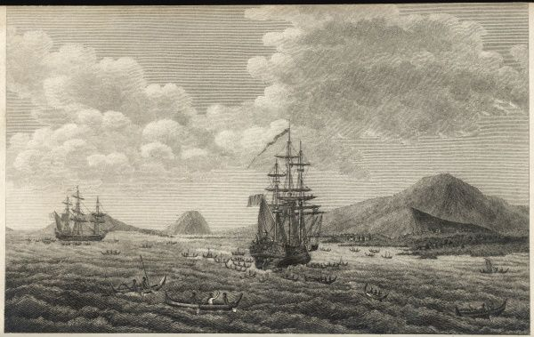 Hawaii (Sandwich Islands): La Perouse anchored at Mowee