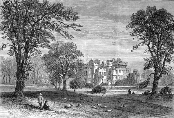 Engraving of Hawarden Castle and its grounds, 1880. This was the home of William Ewart Gladstone, the English Liberal statesman, and the place where he died in 1898
