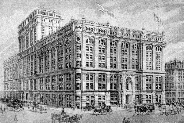 Illustration showing the exterior of the Head Office of the Mutual Life Insurance Company, New York, 1900