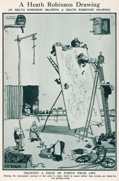 Cartoon, A Heath Robinson drawing of Heath Robinson drawing a Heath Robinson drawing. Drawing a piece of string from life. Please note: Credit must appear as Courtesy of the Estate of Mrs J.C.Robinson/Pollinger Ltd/ILN/Mary Evan&quot
