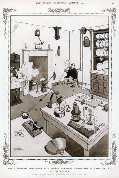 "Heath Robinson Does Away with Servants - Patent Applied for by ""The Sketch"" in the Kitchen. A busy Kitchen, which is a typically Heath Robinson design, with a system of pulleys, levers and machinery allowing just one man to peel and mash potatoes"