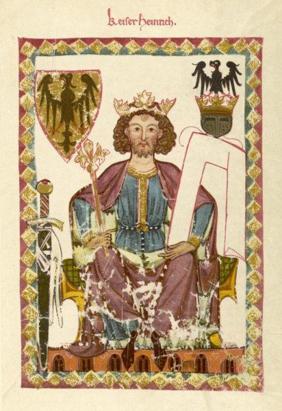 HEINRICH VI OF HOHENSTAUFEN King of Germany and Holy Roman Emperor 1190 - 1197. Conquered Sicily in 1194, died in Messina, Italy in 1197