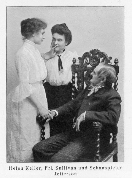 American author and lecturer, Helen Adams Keller (1880-1968), blind, deaf and mute from the age of 19 months; with her tutor, Anne Sullivan Macy, and the actor Joseph Jefferson