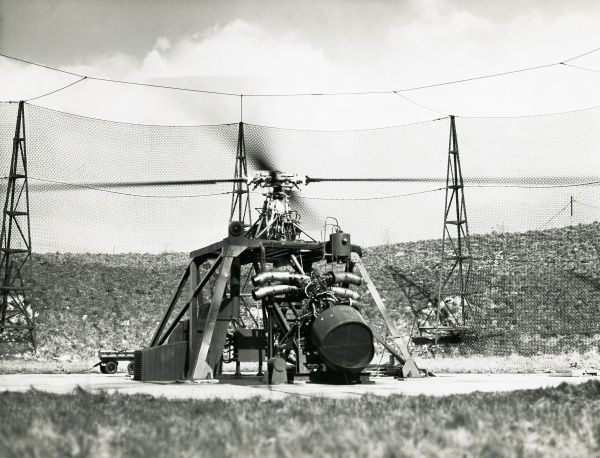 Helicopter rotor test rig at Napier Luton FDE development running a steeply inclined Gazelle engine Date