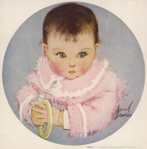 A gorgeous baby with big blue eyes and dark hair looks pensive as she holds a teething ring