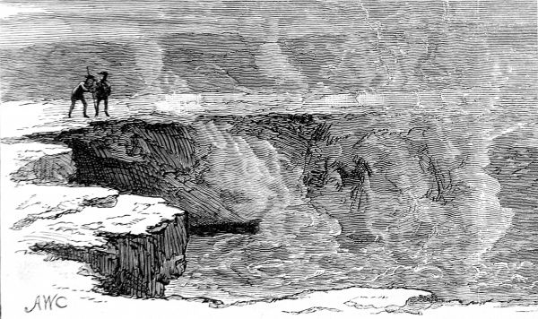 Engraving of 'Hell's Half Acre'; the boiling, muddy springs of Yellowstone National Park, 1883