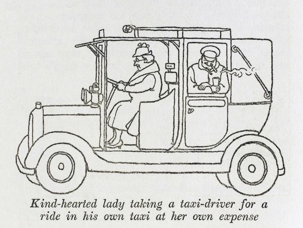 Post War Britain - social reform. A kind hearted lady takes a taxi driver for a ride in his own taxi, at her own expense. Please note: Credit must appear as (c) Courtesy of the estate of Mrs J.C.Robinson/Pollinger Ltd/Mary Evans Picture Library