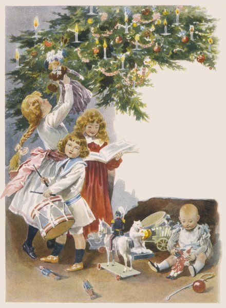 The children help themselves to presents from the tree