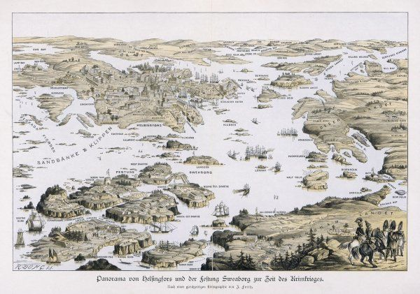 A panoramic view of the fort of Sweaborg (Sveaborg) and Helsinki (Helsingfors) at the time of the Crimean War