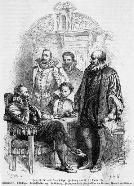 Henri IV and his principal advisers - D'Aubigne, Duplessis-Mornay, de Villeroy and Sully