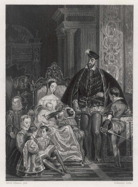 HENRI II king of France, with his queen, Catherine de Medicis, and six of their nine children : in 1551