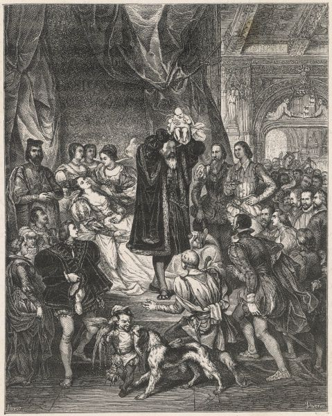 HENRI IV, KING OF FRANCE his birth : his mother, Jeanne d'Albret, queen of Navarre, is surrounded by courtiers, but the jester doesn't seem at all interested, nor does the dog