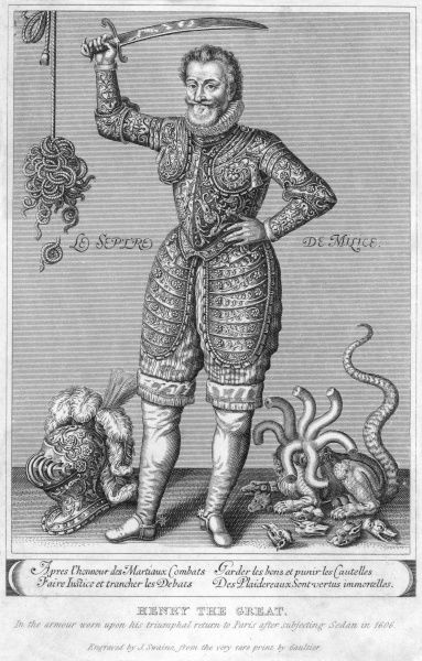 Henri IV, King of France (from 1589), and King of Navarre (from 1572), seen here in armour, with his sword raised, having decapitated the seven-headed beast