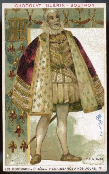 French King, Henri IV, in ornate doublet and red velvet cloak trimmed with ermine