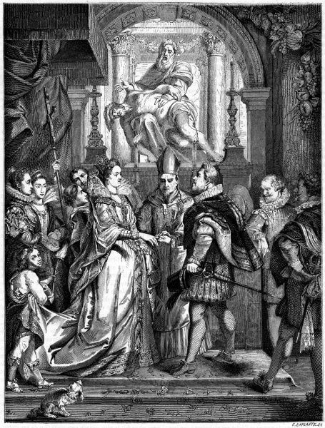 Henri IV weds Marie de Medicis by proxy, since he's too busy dealing with his enemies : he is represented at Firenze by the grand duke of Tuscany