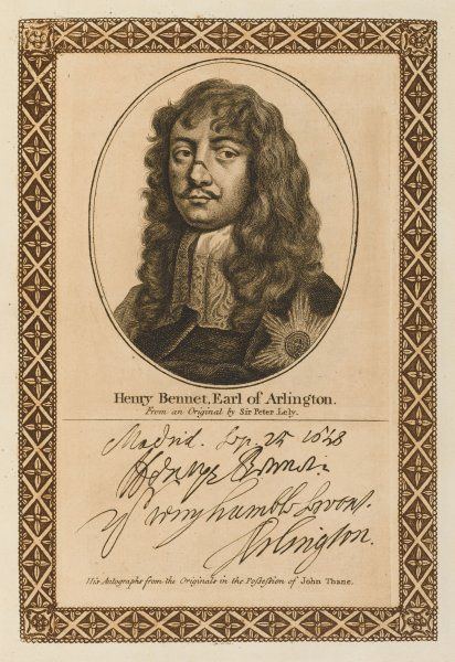 HENRY BENNET, first earl of ARLINGTON royalist statesman with his autograph