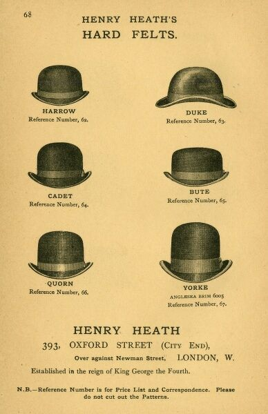 A selection of hard felt hats made by Henry Heath of Oxford Street, London