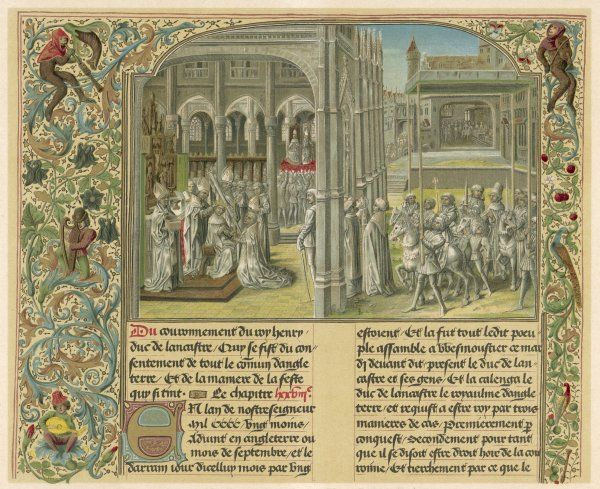 Henry IV, having disposed of Richard II, is crowned at Westminster Abbey, London