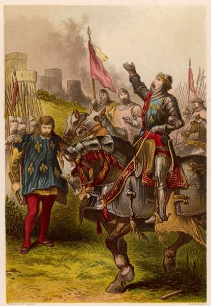 "Act IV, Scene I Henry V, victorious after the battle of Agincourt; H: ""Praised be God, & not our strength for it!&quot"