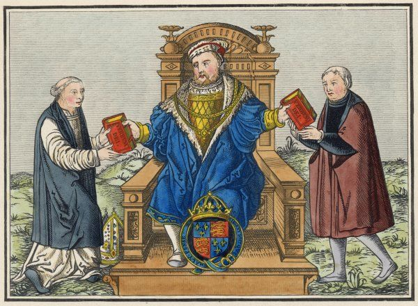 KING HENRY VIII King of England 1509 - 1547 with Cranmer & Thomas Cromwell