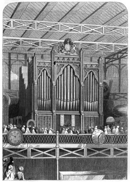 The Grand Organ, built upon the German plan by Henry Willis, as exhibited at the Crystal Palace in Hyde Park as part of the Great Exhibition, 1851. Date: 1851