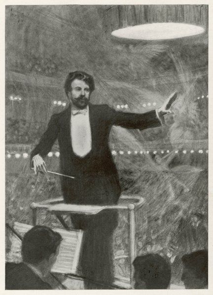 SIR HENRY JOSEPH WOOD English musician conducting Wagner's 'Ride of the Valkyries' in 1908