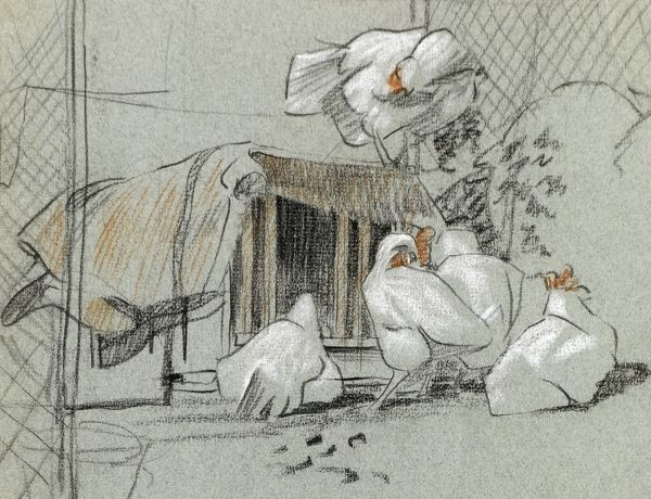 A sketch of hens by a hen house