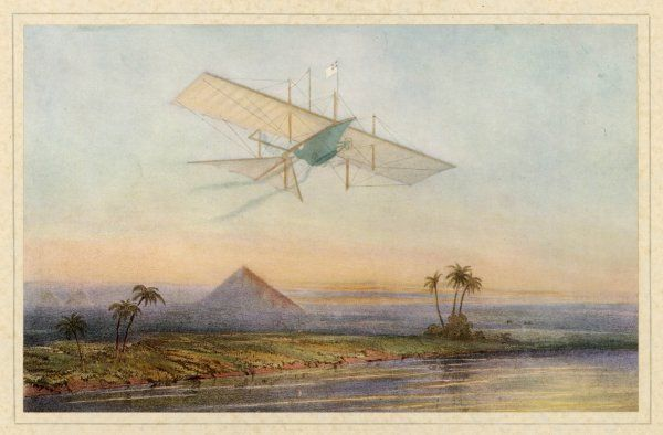 W S Henson's flying machine never flew, but if it had, and if it had flown as far as the Pyramids, this is how it might have looked