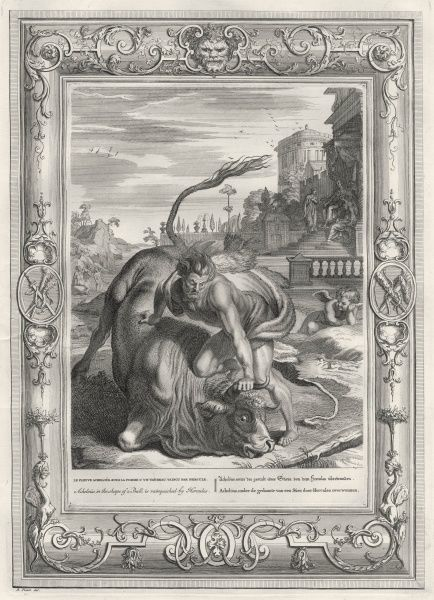 River-god Achelous and Herakles fight for love of Dejanira : Achelous turns himself into a bull, but Herakles wins, pulling off a horn, the cornucopia
