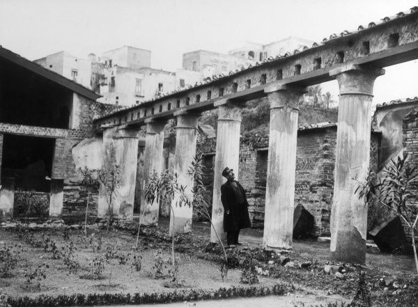 The ruins of the town of Herculaneum, Italy, less famous than Pompeii, but destroyed in the same series of eruptions of Vesuvius in 79 A.D. Date: 1930s