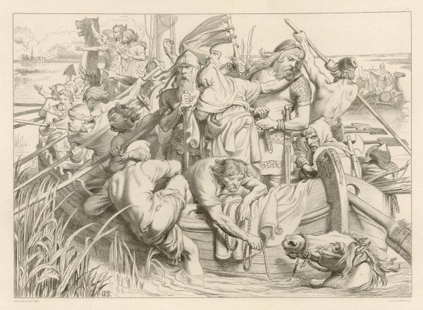 HEREWARD THE WAKE How Hereward and his men left Ely (Cambridgeshire, England) by rowing boat and how his poor mare 'Swallow' was told to swim, but drowned