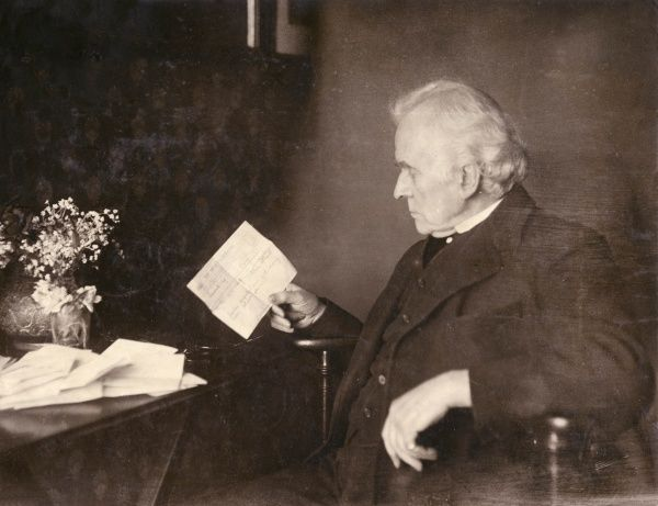 Hermann Vezin (1829-1910), American actor, drama teacher and writer, reading a congratulatory telegram on his 82nd birthday. Most of his acting career took place in the UK, from the 1850s onwards, and he was one of W S Gilbert's favourite performers