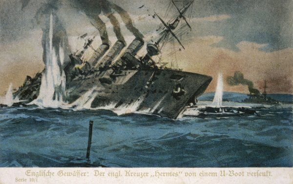 The British cruiser 'Hermes' is torpedoed and sunk by a German U-boat