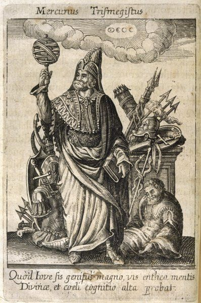 HERMES TRISMEGISTUS (= thrice- greatest), perceived by Neoplatonists as the presiding deity of alchemy, possessing magical and oracular powers