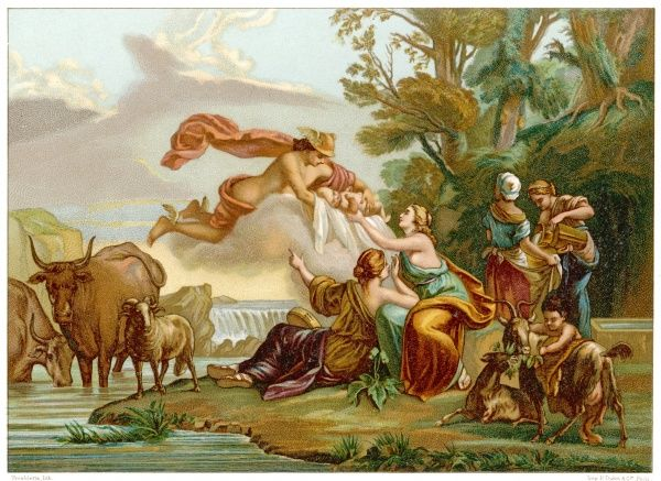 Hermes carries the infant Zeus to the nymphs of Melissa for safe-keeping