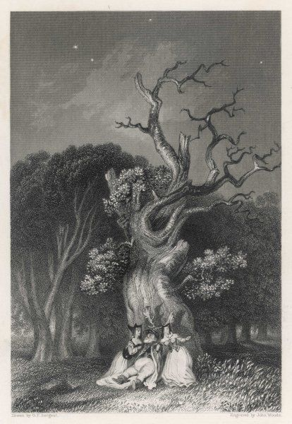 A scene from 'The Merry Wives of Windsor', in which Falstaff falls beside Herne's Oak whilst impersonating Herne the Hunter, the phantom who haunts Windsor Great Park