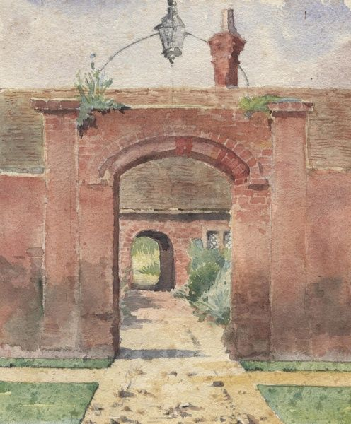 View through two archways into a courtyard at Herstmonceux, Sussex.  1910