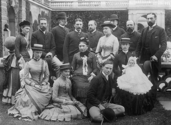 A Royal group at Osborne House, Isle of Wight, to celebrate the marriage of Princess Beatrice to Prince Henry of Battenberg in 1885