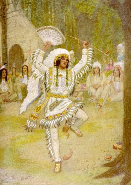Pau-Puk Keewis dances the 'Beggar's Dance', to the accompaniment of a merry flute flute playing crowd, at Hiawatha's wedding