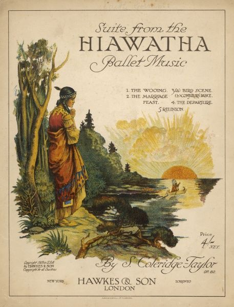 Minnehaha stands on the edge of the lake, watching as Hiawatha paddles his canoe into the sunset