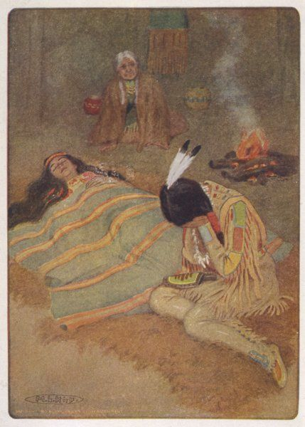 "Hiawatha mourns the death of Minnehaha: ""Seven long days & nights he sat there.&quot"