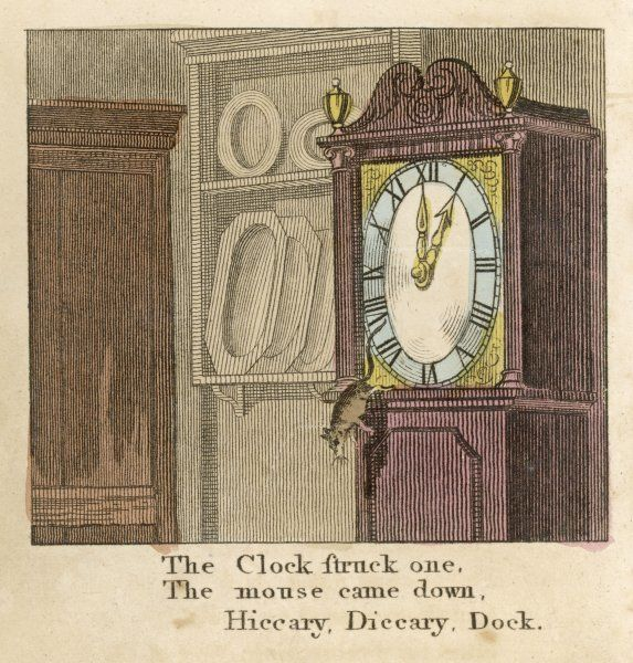 Hiccory, diccory, dock, The mouse ran up the clock; The clock struck one, And the mouse came down, Hiccory, diccory, dock