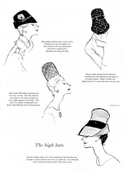 A selection of hats with high crowns, fashionable in the early 1960s