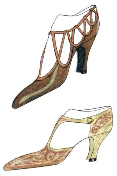 High heeled court shoes both with elongated toes, open sides & unusual straps. One is of the 'T-bar' design, the other has multiple loops
