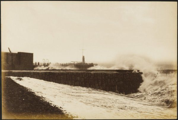 High seas at Folkestone, south coast of England