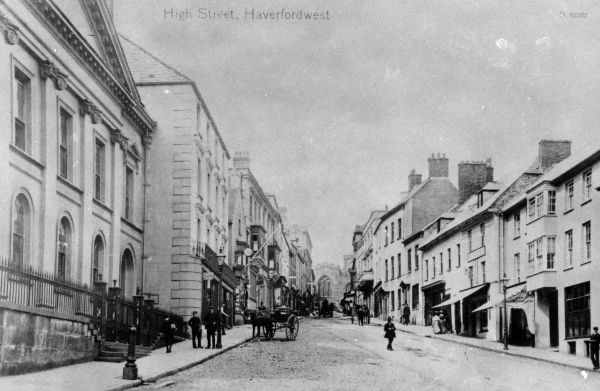 View of the High Street, Haverfordwest, Pembrokeshire, Dyfed, South Wales