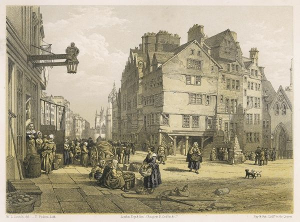View of the High Street from the Head of West Bow, Lawnmarket, Edinburgh, Scotland