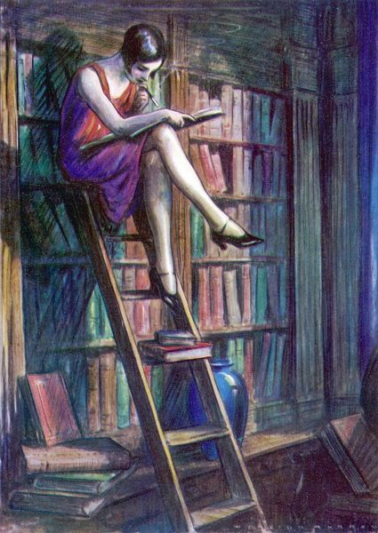 A Blue Stocking reads in a Library. Illustration by Webster Murray